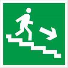 """Знак E 13 """"Направление к эвакуационному выходу по лестнице вниз (прав)"""" на фотолюминесцентной пленке, размер 100*100"""