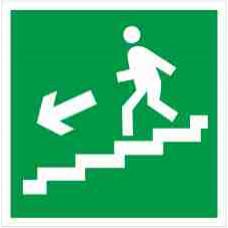 """Знак E 14 """"Направление к эвакуационному выходу по лестнице вниз (лев)"""" на фотолюминесцентной пленке, размер 100*100"""