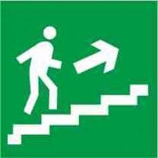 """Знак E 15 """"Направление к эвакуационному выходу по лестнице вверх (прав)"""" на фотолюминесцентной пленке, размер 100*100"""