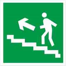 """Знак E 16 """"Направление к эвакуационному выходу по лестнице вверх (лев)"""" на фотолюминесцентной пленке, размер 100*100"""