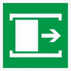 """Знак E 20 """"Для открывания сдвинуть"""" на фотолюминесцентной пленке, размер 100*100"""