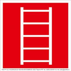 "Знак F 03 ""Пожарная лестница"" на световозвращающей пленке на ПВХ"