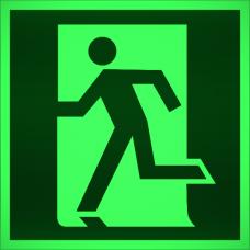 """Знак E 01-01 """"Выход здесь (левосторонний)"""" на фотолюминесцентной светонакопительной пленке, размер 100*100"""