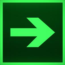 """Знак E 02-01 """"Направляющая стрелка"""" на фотолюминесцентной светонакопительной пленке, размер 100*100"""