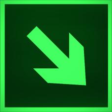 """Знак E 02-02 """"Направляющая стрелка под углом"""" на фотолюминесцентной светонакопительной пленке, размер 100*100"""