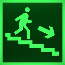 """Знак E 13 """"Направление к эвакуационному выходу по лестнице вниз (прав)"""" на фотолюминесцентной светонакопительной пленке, размер 100*100"""