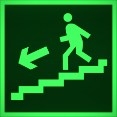 """Знак E 14 """"Направление к эвакуационному выходу по лестнице вниз (лев)"""" на фотолюминесцентной светонакопительной пленке, размер 100*100"""