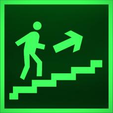 """Знак E 15 """"Направление к эвакуационному выходу по лестнице вверх (прав)"""" на фотолюминесцентной светонакопительной пленке, размер 100*100"""