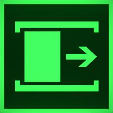 """Знак E 20 """"Для открывания сдвинуть"""" на фотолюминесцентной светонакопительной пленке, размер 100*100"""