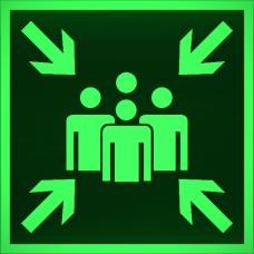 """Знак E 21 """"Пункт (место) сбора"""" на фотолюминесцентной светонакопительной пленке, размер 100*100"""