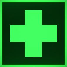"""Знак ES 01 """"Аптечка первой медицинской помощи"""" на фотолюминесцентной светонакопительной пленке, размер 100*100"""