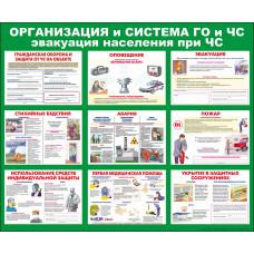 """Информационный стенд """"ГО и ЧС"""" размером 1150*950мм"""