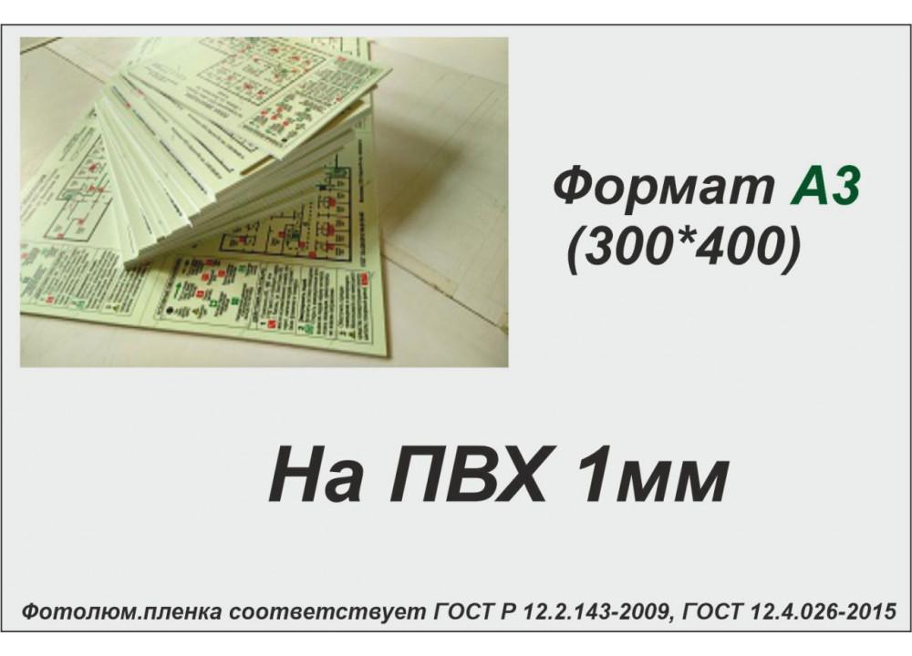 План эвакуации на ПВХ 1 мм на фотолюминесцентной светонакопительной пленке ФЭС-24 по ГОСТ, размер А3 (300*400мм)