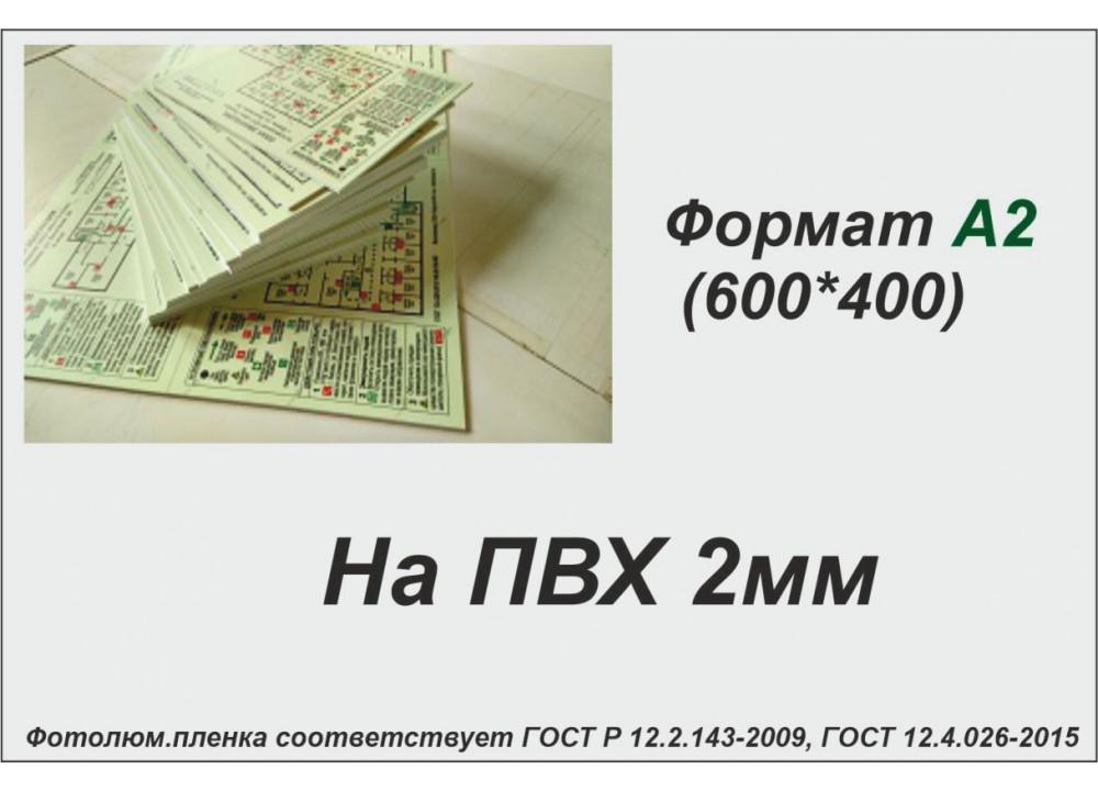 План эвакуации на ПВХ 2 мм на фотолюминесцентной светонакопительной пленке ФЭС-24 по ГОСТ, размер А2 (600*400мм)