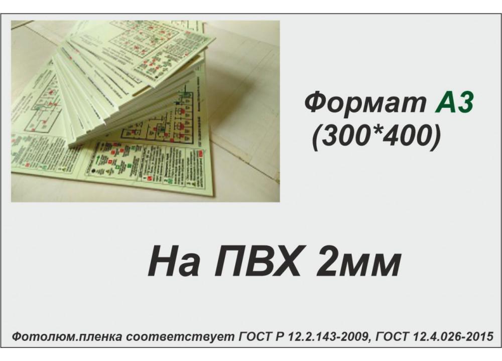 План эвакуации на ПВХ 2 мм на фотолюминесцентной светонакопительной пленке ФЭС-24 по ГОСТ, размер А3 (300*400мм)