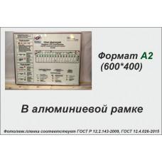 План эвакуации в алюминиевой рамке на фотолюминесцентной светонакопительной пленке ФЭС-24 по ГОСТ, размер А2 (600*400мм)