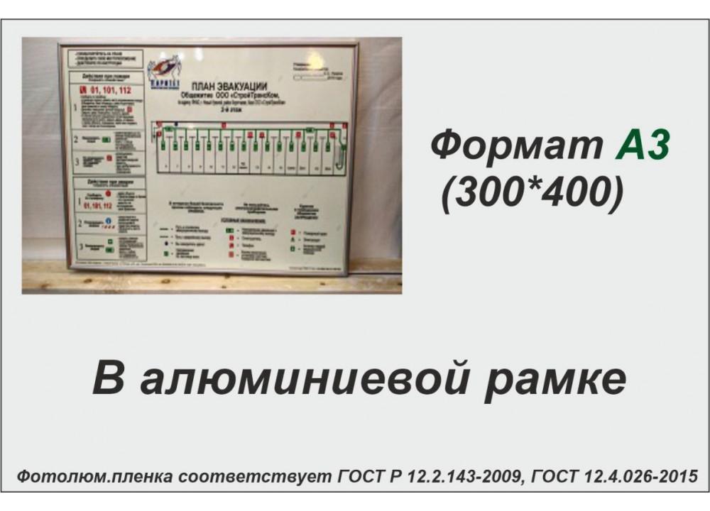 План эвакуации в алюминиевой рамке на фотолюминесцентной светонакопительной пленке ФЭС-24 по ГОСТ, размер А3 (300*400мм)